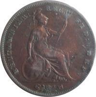 reverse of 1 Penny - Victoria - 1'st Portrait (1841 - 1860) coin with KM# 739 from United Kingdom. Inscription: BRITANNIAR: REG: FID: DEF: