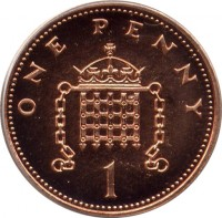 reverse of 1 Penny - Elizabeth II - Non magnetic; 4'th Portrait (1999 - 2004) coin with KM# 986a from United Kingdom. Inscription: ONE PENNY 1