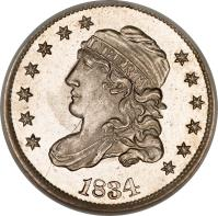 obverse of 5 Cents - Liberty Cap Half Dime (1829 - 1837) coin with KM# 47 from United States. Inscription: LIBERTY 1834