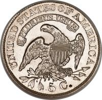 reverse of 5 Cents - Liberty Cap Half Dime (1829 - 1837) coin with KM# 47 from United States. Inscription: UNITED STATES OF AMERICA E PLURIBUS UNUM 5 C.