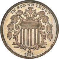 obverse of 5 Cents - Union Shield (1866 - 1867) coin with KM# 96 from United States. Inscription: IN GOD WE TRUST 1866