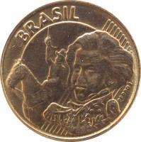 obverse of 10 Centavos (1997 - 2014) coin with KM# 649 from Brazil. Inscription: BRASIL PEDRO I