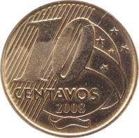 reverse of 10 Centavos (1997 - 2014) coin with KM# 649 from Brazil. Inscription: 10 CENTAVOS 2005