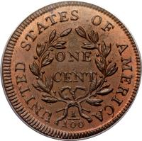 reverse of 1 Cent - Draped Bust Cent (1796 - 1807) coin with KM# 22 from United States. Inscription: UNITED STATES OF AMERICA ONE CENT 1 100