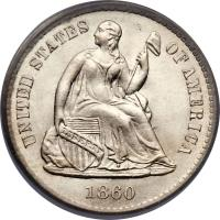 obverse of 1/2 Dime - Seated Liberty Half Dime (1860 - 1873) coin with KM# 91 from United States. Inscription: UNITED STATES OF AMERICA LIBERTY 1860