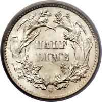 reverse of 1/2 Dime - Seated Liberty Half Dime (1860 - 1873) coin with KM# 91 from United States. Inscription: HALF DIME