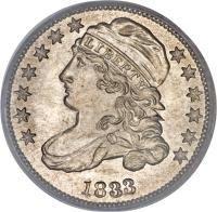 obverse of 1 Dime - Liberty Cap Dime (1828 - 1837) coin with KM# 48 from United States. Inscription: LIBERTY 1835