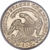 reverse of 1 Dime - Liberty Cap Dime (1828 - 1837) coin with KM# 48 from United States. Inscription: UNITED STATES OF AMERICA E. PLURIBUS UNUM 10 C.