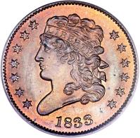 obverse of 1/2 Cent - Classic Head Half Cent (1809 - 1836) coin with KM# 41 from United States. Inscription: 1833