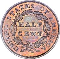 reverse of 1/2 Cent - Classic Head Half Cent (1809 - 1836) coin with KM# 41 from United States. Inscription: UNITED STATES OF AMERICA HALF CENT