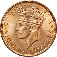 obverse of 1 Cent - George VI (1937 - 1947) coin with KM# 21 from Belize. Inscription: · GEORGE VI KING AND EMPEROR OF INDIA