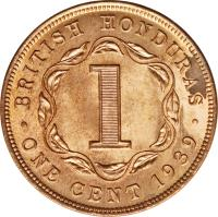 reverse of 1 Cent - George VI (1937 - 1947) coin with KM# 21 from Belize. Inscription: BRITISH HONDURAS 1 · ONE CENT 1943 ·