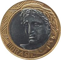 obverse of 1 Real (2002 - 2014) coin with KM# 652a from Brazil. Inscription: BRASIL