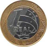 reverse of 1 Real (2002 - 2014) coin with KM# 652a from Brazil. Inscription: 1 REAL 2003