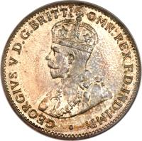 obverse of 3 Pence - George V (1913 - 1919) coin with KM# 10 from British West Africa. Inscription: GEORGIVS V D.G.BRITT: OMN:REX F.D.IND:IMP: