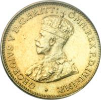 obverse of 3 Pence - George V (1920 - 1936) coin with KM# 10b from British West Africa. Inscription: · GEORGIVS V D.G.BRITT: OMN:REX F.D.IND:IMP: