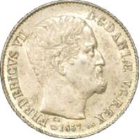 obverse of 16 Skilling Rigsmont - Frederik VII (1856 - 1858) coin with KM# 765 from Denmark. Inscription: FREDERICVS VIID:G:DANIÆ V:G:REX F.K 1857 V.S