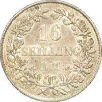 reverse of 16 Skilling Rigsmont - Frederik VII (1856 - 1858) coin with KM# 765 from Denmark. Inscription: 16 SKILLING R:M: