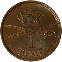 reverse of 1 Rigsbankskilling - Christian VIII (1842) coin with KM# 726 from Denmark. Inscription: 1 1842 R:B:S V.S