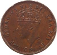 obverse of 1 Cent - George VI (1938 - 1947) coin with KM# 18 from Canadian provinces. Inscription: GEORGIUS VI DEI GRA. REX ET IND. IMP. P.M.