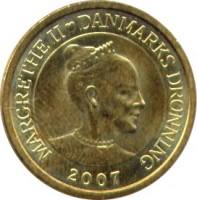 obverse of 10 Kroner - Margrethe II - Polar Bear - 4'th Portrait (2007) coin with KM# 916 from Denmark. Inscription: MARGRETHE II ♥ DANMARKS DRONNING 2007