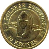 reverse of 10 Kroner - Margrethe II - Polar Bear - 4'th Portrait (2007) coin with KM# 916 from Denmark. Inscription: POLARÅR 2007-2009 10 KRONER