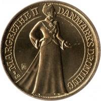 obverse of 20 Kroner - Margrethe II - Silver Jubilee (1997) coin with KM# 883 from Denmark. Inscription: MARGRETHE II DANMARKS DRONNING