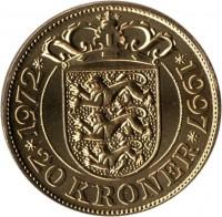 reverse of 20 Kroner - Margrethe II - Silver Jubilee (1997) coin with KM# 883 from Denmark. Inscription: 1972 1997 20 KRONER