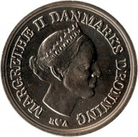 obverse of 10 Kroner - Margrethe II - Crown Prince´s Birthday (1986) coin with KM# 865 from Denmark. Inscription: MARGRETHE II DANMARKS DRONNING