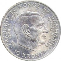 reverse of 10 Kroner - Margrethe II - Throne Accession (1972) coin with KM# 858 from Denmark. Inscription: FREDERIK IX KONGE AF DANMARK 20. APRIL 1947 14. JANUAR 1972 10 KRONER