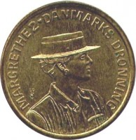 obverse of 20 Kroner - Margrethe II - 50th Birthday (1990) coin with KM# 870 from Denmark. Inscription: MARGRETHE 2 DANMARKS DRONNING