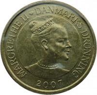 obverse of 20 Kroner - Margrethe II - Fregatten Jylland - 4'th Portrait (2007) coin with KM# 920 from Denmark. Inscription: MARGRETHE II ♥ DANMARKS DRONNING 2007
