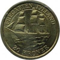 reverse of 20 Kroner - Margrethe II - Fregatten Jylland - 4'th Portrait (2007) coin with KM# 920 from Denmark. Inscription: FREGATTEN JYLLAND 20 KRONER