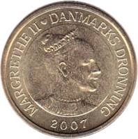 obverse of 20 Kroner - Margrethe II - Vædderen - 4'th Portrait (2007) coin with KM# 921 from Denmark. Inscription: MARGRETHE II ♥ DANMARKS DRONNING 2007