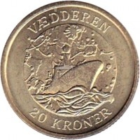 reverse of 20 Kroner - Margrethe II - Vædderen - 4'th Portrait (2007) coin with KM# 921 from Denmark. Inscription: VÆDDEREN 20 KRONER