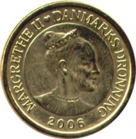 obverse of 10 Kroner - Margrethe II - The Shadow - 4'th Portrait (2006) coin with KM# 903 from Denmark. Inscription: MARGRETHE II ♥ DANMARKS DRONNING 2006