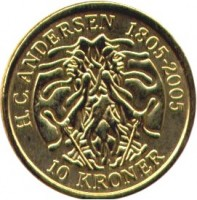 reverse of 10 Kroner - Margrethe II - The Shadow - 4'th Portrait (2006) coin with KM# 903 from Denmark. Inscription: H.C.ANDERSEN 1805-2005 10 KRONER