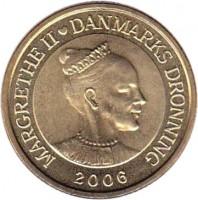 obverse of 20 Kroner - Margrethe II - Tre Brødre - 4'th Portrait (2006) coin with KM# 913 from Denmark. Inscription: MARGRETHE II ♥ DANMARKS DRONNING 2006