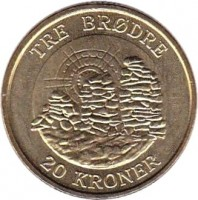reverse of 20 Kroner - Margrethe II - Tre Brødre - 4'th Portrait (2006) coin with KM# 913 from Denmark. Inscription: TRE BRØDRE 20 KRONER