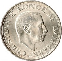obverse of 2 Kroner - Christian X - King´s Birthday (1945) coin with KM# 836 from Denmark. Inscription: CHRISTIAN X KONGE AF DANMARK N♥S