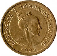 obverse of 10 Kroner - Margrethe II - Snow Queen - 4'th Portrait (2006) coin with KM# 914 from Denmark. Inscription: MARGRETHE II ♥ DANMARKS DRONNING 2006