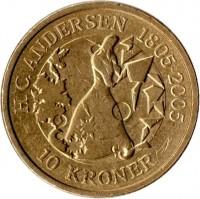 reverse of 10 Kroner - Margrethe II - Snow Queen - 4'th Portrait (2006) coin with KM# 914 from Denmark. Inscription: H. C. ANDERSEN 1805. 2005 10 KRONER