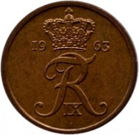 obverse of 1 Øre - Frederik IX (1960 - 1964) coin with KM# 846 from Denmark. Inscription: 19 63 FR IX