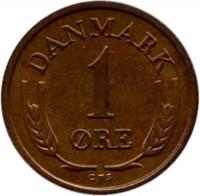 reverse of 1 Øre - Frederik IX (1960 - 1964) coin with KM# 846 from Denmark. Inscription: DANMARK 1 ØRE