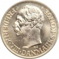 obverse of 25 Øre - Frederik VIII (1907 - 1911) coin with KM# 808 from Denmark. Inscription: · FREDERIK VIII · DANMARKS KONGE · GJ