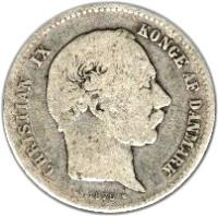 obverse of 1 Krone - Christian IX (1875 - 1898) coin with KM# 797 from Denmark. Inscription: CHRISTIAN IX KONGE AF DANMARK 1876