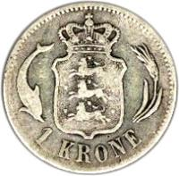 reverse of 1 Krone - Christian IX (1875 - 1898) coin with KM# 797 from Denmark. Inscription: 1 KRONE