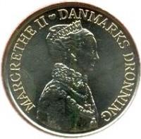 obverse of 20 Kroner - Margrethe II - 40th Jubilee (2012) coin with KM# 945 from Denmark. Inscription: MARGRETHE II DANMARKS DRONNING