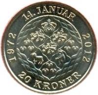 reverse of 20 Kroner - Margrethe II - 40th Jubilee (2012) coin with KM# 945 from Denmark. Inscription: 14. JANUAR 1972 2012 20 KRONER