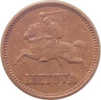 obverse of 1 Centas (1936) coin with KM# 79 from Lithuania. Inscription: LIETUVA